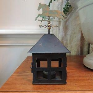 Lantern with horse weather vane top